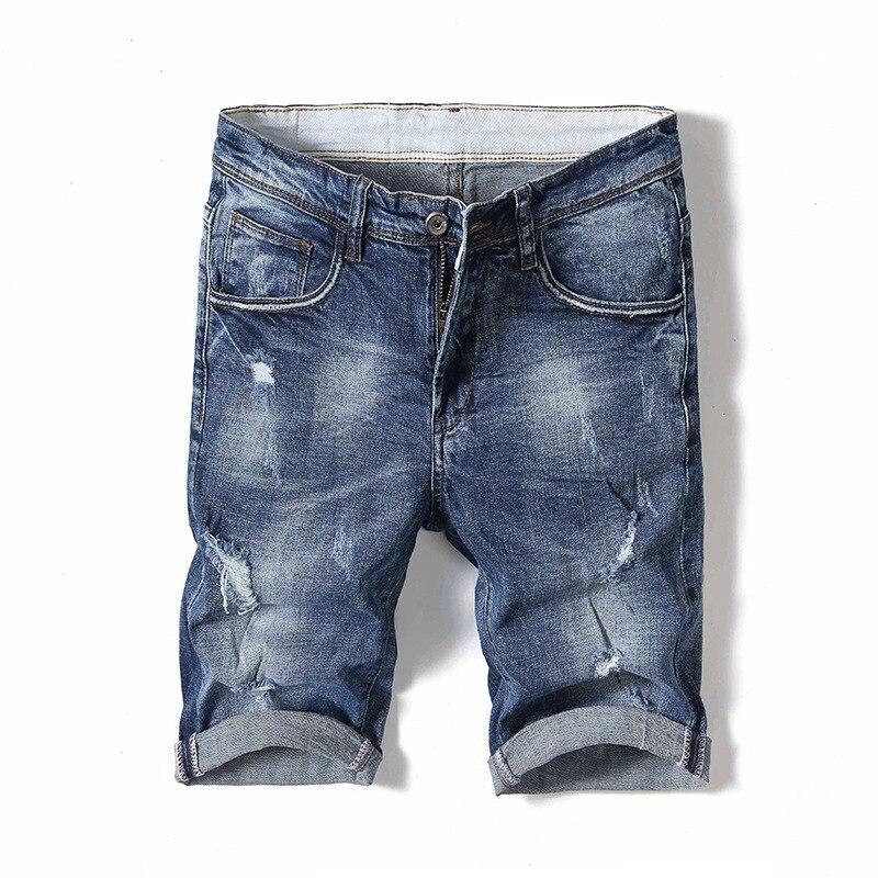 Summer Thin Section With Holes Denim Shorts Men's Korean-style Slim Fit Straight-Cut Short Jeans Elasticity 5 Shorts Men's Fashi