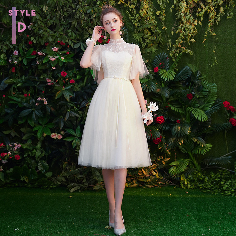 Women's event prom long dress bridesmaid graduation party dress high neck lace up ceremony evening party dress