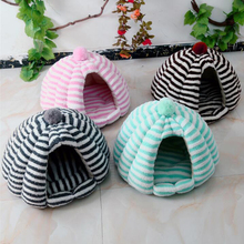 HIPET Pet Cat Nest Bed Dog Kennel Winter Warm Comfortable PP Cotton Stripe Small Medium Puppy Cats Sleeping House Cave