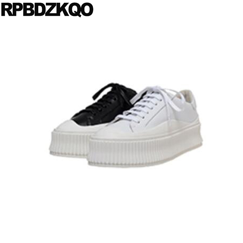 black lace up elevator white women genuine leather shallow designer creepers platform shoes muffin flats 2019 luxury thick sole