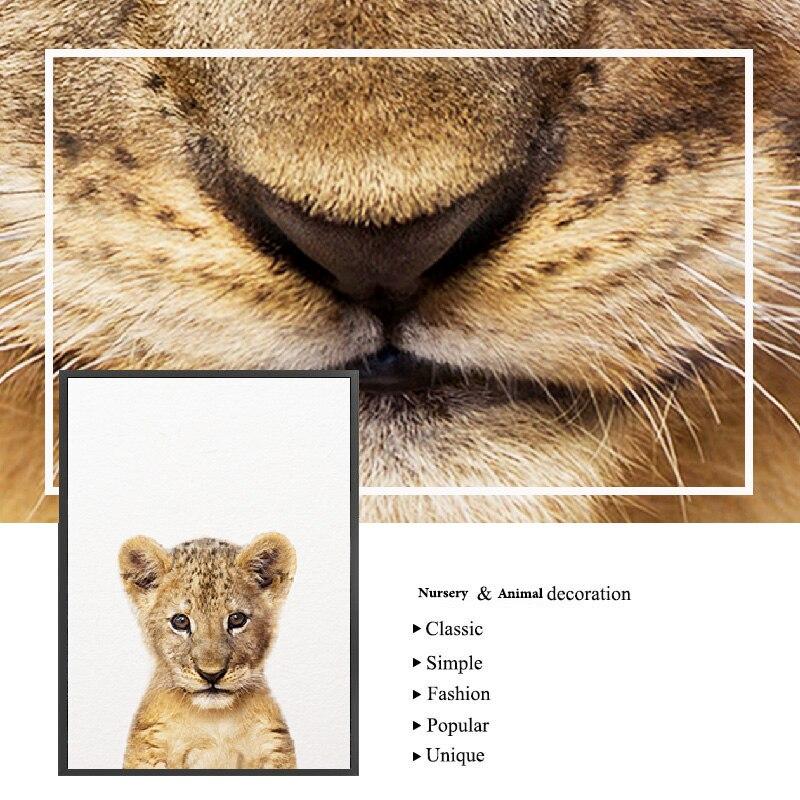 H53b2c66240f44f71ac55eb4528044ad3v Safari Baby Animals Canvas Poster Nursery Lion Tiger Wall Art Print Modern Animal Painting Nordic Kid Bedroom Decoration Picture