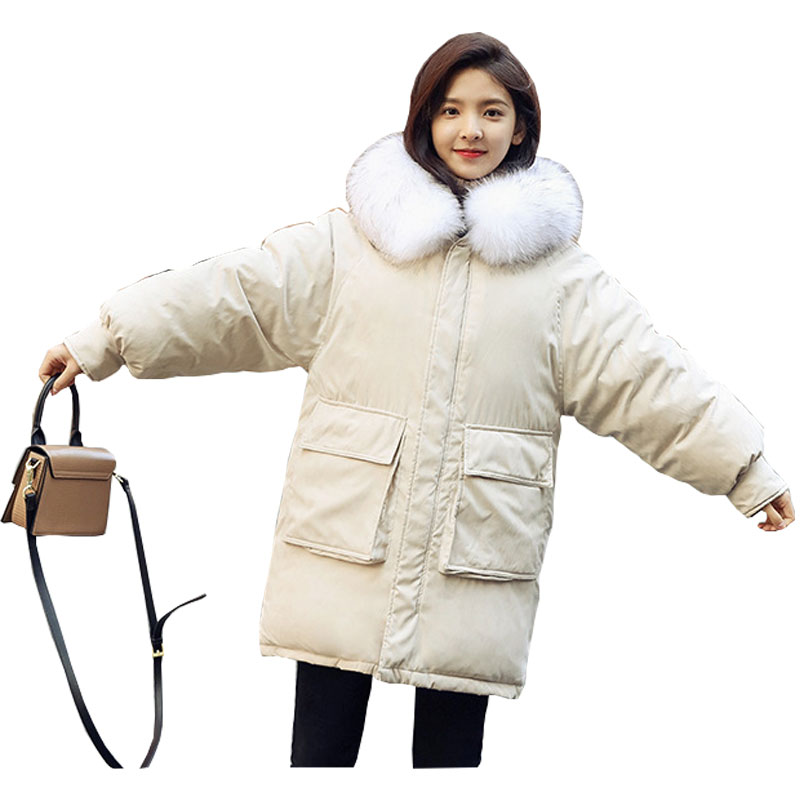 Fur Collar Hooded Winter   Down     Coat   Jacket Thick Warm Loose Casaco Feminino Abrigos Mujer Invierno Cotton padded Wadded Parkas 13
