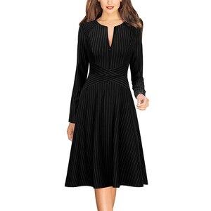 Image 4 - Женское осеннее платье трапеция Vfemage с длинным рукавом и передними карманами на молнии, повседневное Деловое платье для офиса и вечеринок, трапециевидного силуэта, 671C