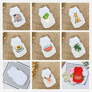 Белая одежда для домашних животных, летняя майка для котов, футболка с рисунком кошки, костюм для маленькой собаки, чихуахуа, щенка, одежда д...