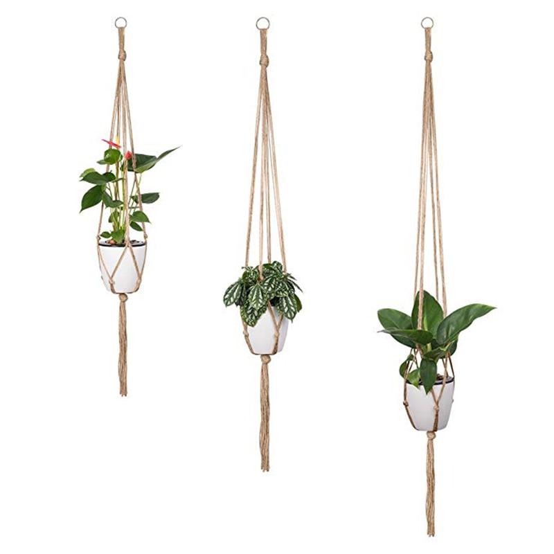 2Pcs Plant Hanger Basket Flowerpot Plant Holder Macrame Hanging Lifting Rope Garden Home Garden Decor