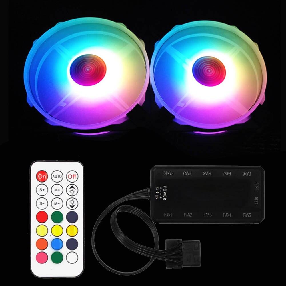Arc-en-ciel lumières rvb réglable couleur ventilateur 120mm LED ordinateur boîtier silencieux ventilateur contrôleur VDX99