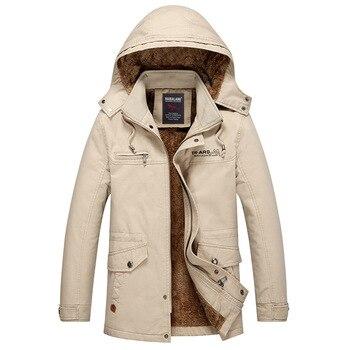 Youth Men Coat Season Plus Velvet Thicken Leisure Jacket Medium Length Lian Cap Increase Code Fat Man