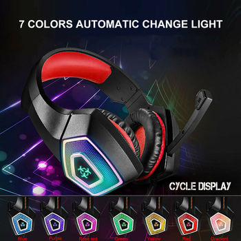 2020 Led Light Gaming Headphones 3.5mm Gaming Headset Mic LED Headphones Stereo Surround For PC PS4 Adjustable Bass Stereo 4