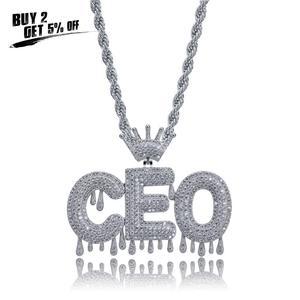 Image 2 - Nome personalizado iced para fora coroa bolha letras pingentes de corrente colares encantos masculinos zircon hip hop jóias cor prata tênis corrente