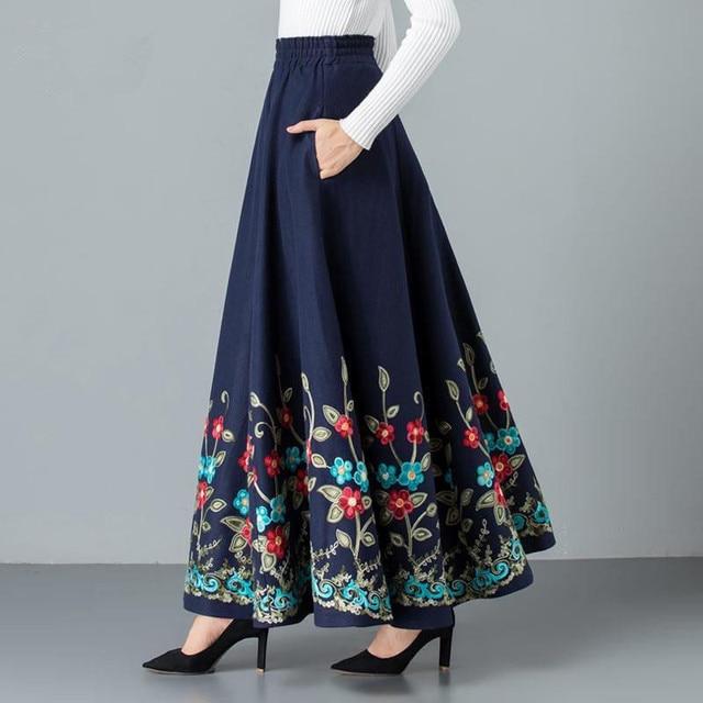 Mom elegant Embroidered Maxi pleated skirt Women Plus Size Winter Warm Woolen Long Skirt Lady High Waist Casual Wool Office saia 1