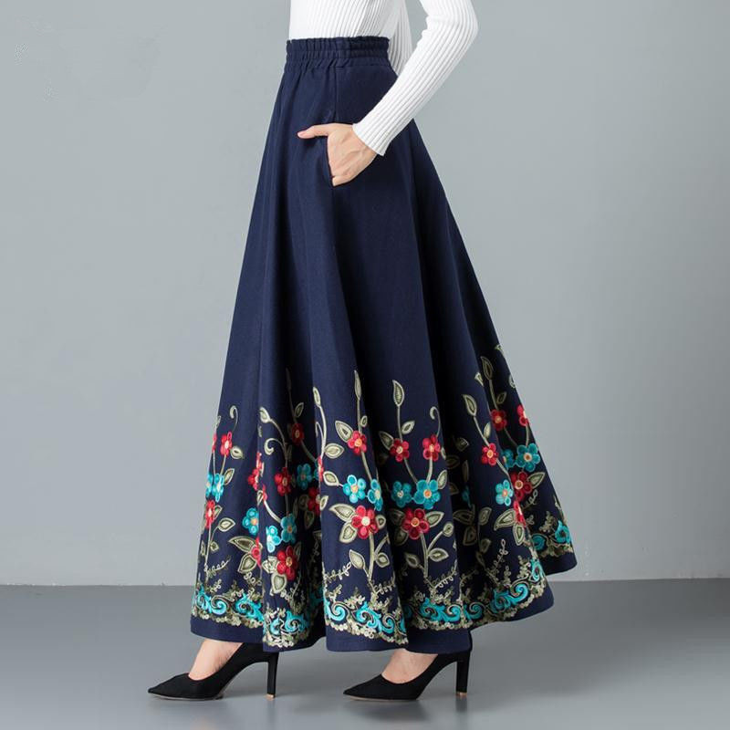 Mom Elegant Embroidered Maxi Pleated Skirt Women Plus Size Winter Warm Woolen Long Skirt Lady High Waist Casual Wool Office Saia