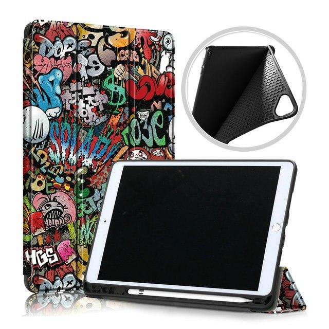 Folding Smart Case for Coque iPad 7 Gen 10.2 Folio Case iPad 10.2 2019 Cover Pen Holder for iPad 7th Gen Case A2200 A2198 A2232