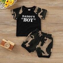2021 neue Sommer Kind Baby Boy Kid Brief Camouflage Gedruckt Tops T Shirt + Shorts Outfits Set Neue Jahr Geschenke für Kinder Kleiden # Y