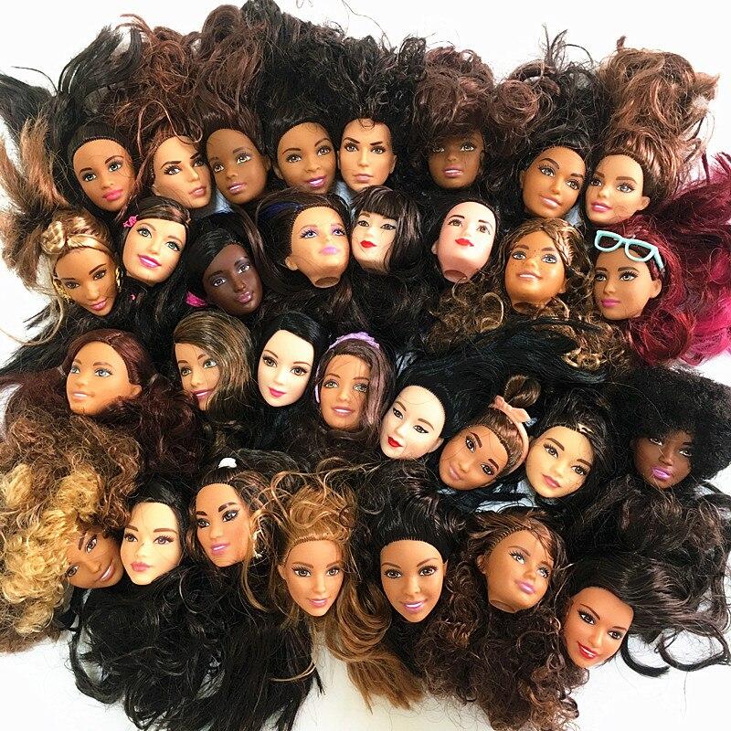 1 шт., светлые или темные волосы, оригинальные головки для девочек, для Барби, сделай сам, 1/6, кукла, модные Несовершенные головки, подарок для ...