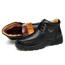 цена Genuine Leather Mens Shoes Fur Ankle Boots Business Warm Winter Shoes Snow Mens Boot Lace Up Work Shoes Male Plush WalkerPeak онлайн в 2017 году