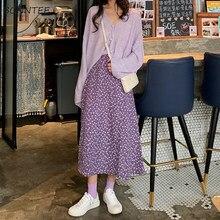 Spódnice damskie z kwiatowym wzorem długa elastyczna talia wiosna lato słodka Looose Vintage stylowa damska spódnica do kostek popularny szyk retro
