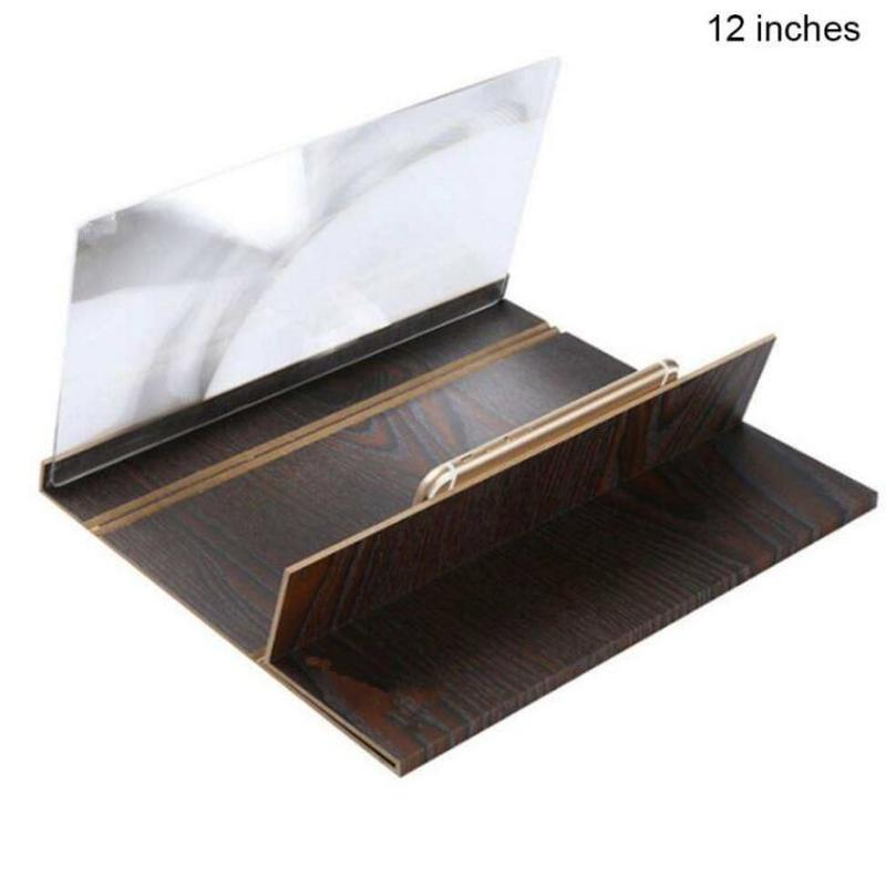 Image 4 - 12 inch Folding 3d phone magnifier screen With Wood Frame HD Video Magnifying Glass Bracket Stand tablet holder eye protection-in Magnifiers from Tools