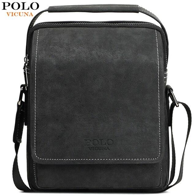 VICUNA POLO Vintage Frosted Leather Men Crossbody Bag With Handle Durable Fashion Business Man Bag Sling Shoulder Bags Handbag