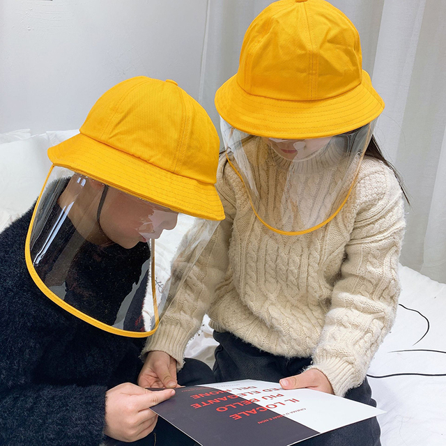 NEW safety bucket hat anti dust mask cover hat anti flue spittle transparent mask full face cover up cute hat for kids