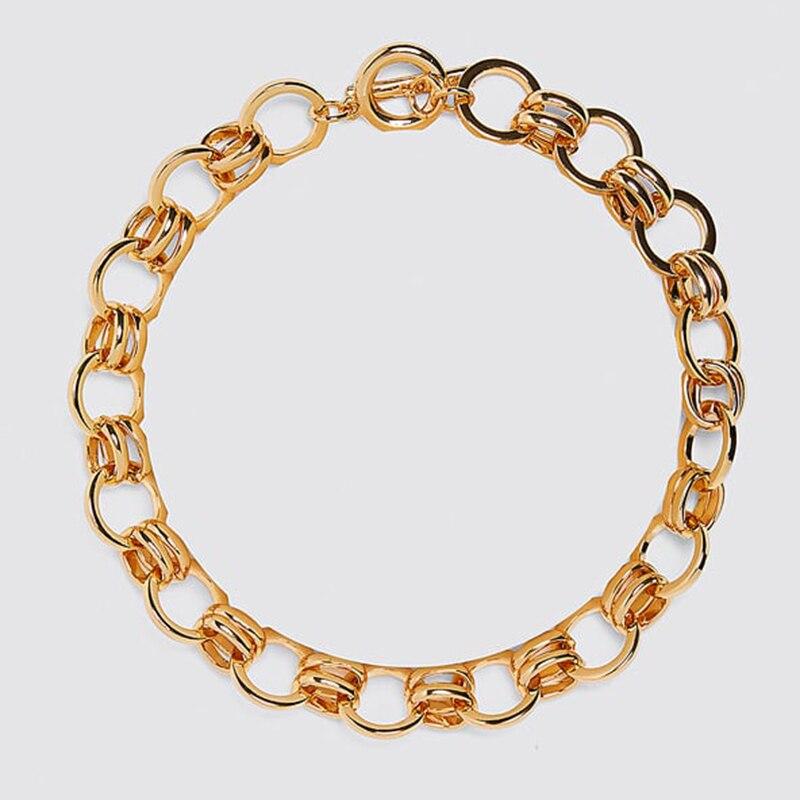Dvacaman ZA, золотое ожерелье на цепочке, Чокеры для женщин, металлическое круглое звено, массивное ожерелье, s макси панк, модные вечерние ювелирные изделия - Окраска металла: 1