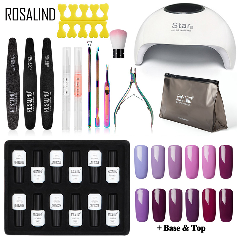 ROSALIND Manicure Gel Nail Polish Set Kit UV LED Lamp Nail Dryer Hybrid Varnishes Soak Off Nail Art Semi Permanent Base Top Coat