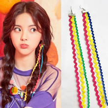 Trendy Handmade Colorful Rainbow Ribbon Long Earrings Sweet Tassels Temperament Girl Funny Party Jewelry