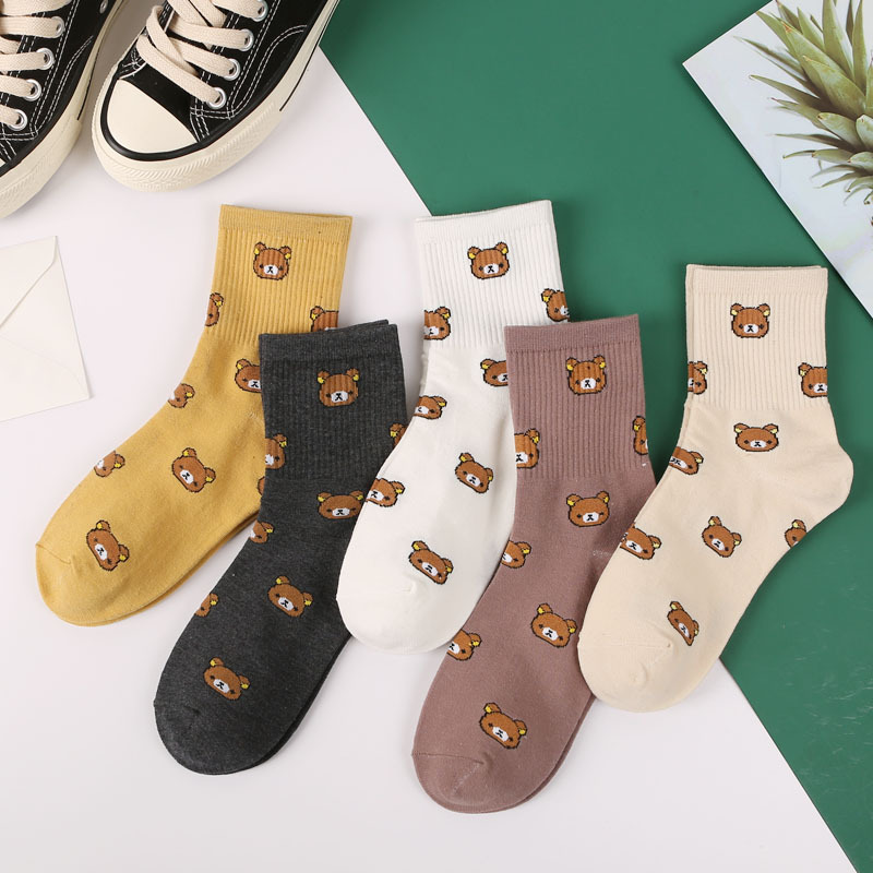 2019 New Cute Kawai Cartoon Women Combed Cotton   Socks   Women Funny Bear 5 colors Lovely Animal Pattern Casual   Sock   SA-8