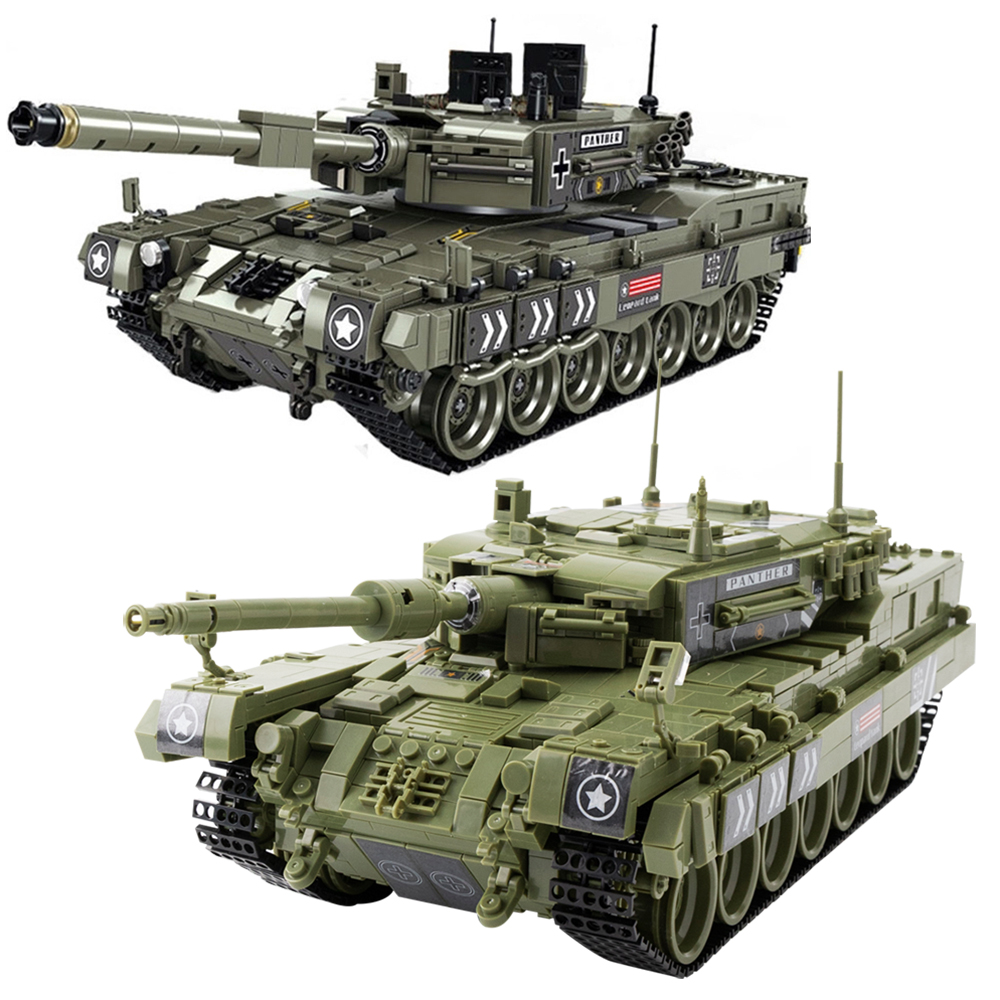 City 1747Pcs Leopard 2 Main Battle Tank MK4 Building Blocks Military WW2 Army Soldier Bricks Toys Gifts For Kids Boys Children