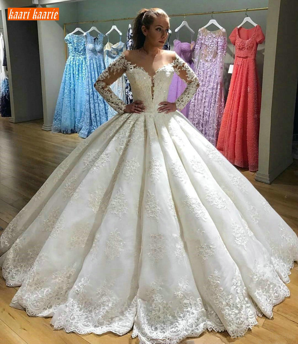 Luxury Ball Gown Wedding Dress Long Sleeve Lace Applique Bridal ...