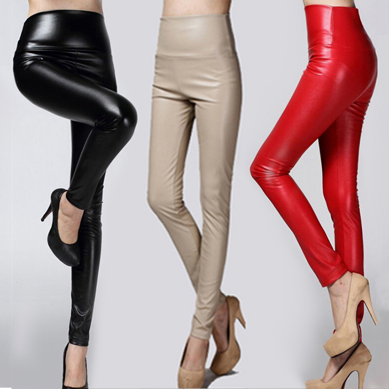 Autumn Winter Women Thin Velvet PU Leather Pants Female Sexy Elastic Stretch Faux Leather Skinny Pencil Pant Woman Tight Trouser