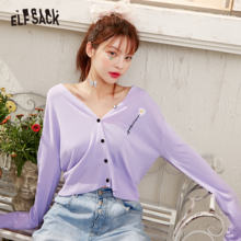 ELFSACK Lavanda Solido Margherita Fiori Monopetto A Maglia Casual Donne Cardigan Estate 2020 Nero Coreano Girly Quotidiano Sottile Top(China)