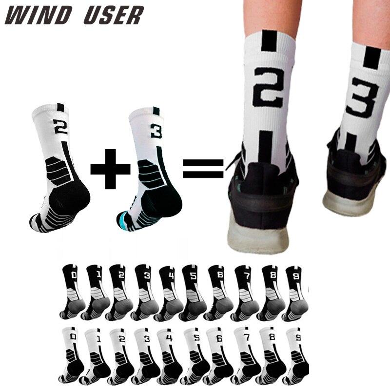 Professional Free Collocation 0-9 Number Basketball Socks Thick Sports Socks Non-slip Durable Skateboard Towel Bottom Socks