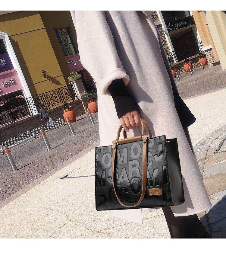 Nova moda feminina bolsas de couro grande