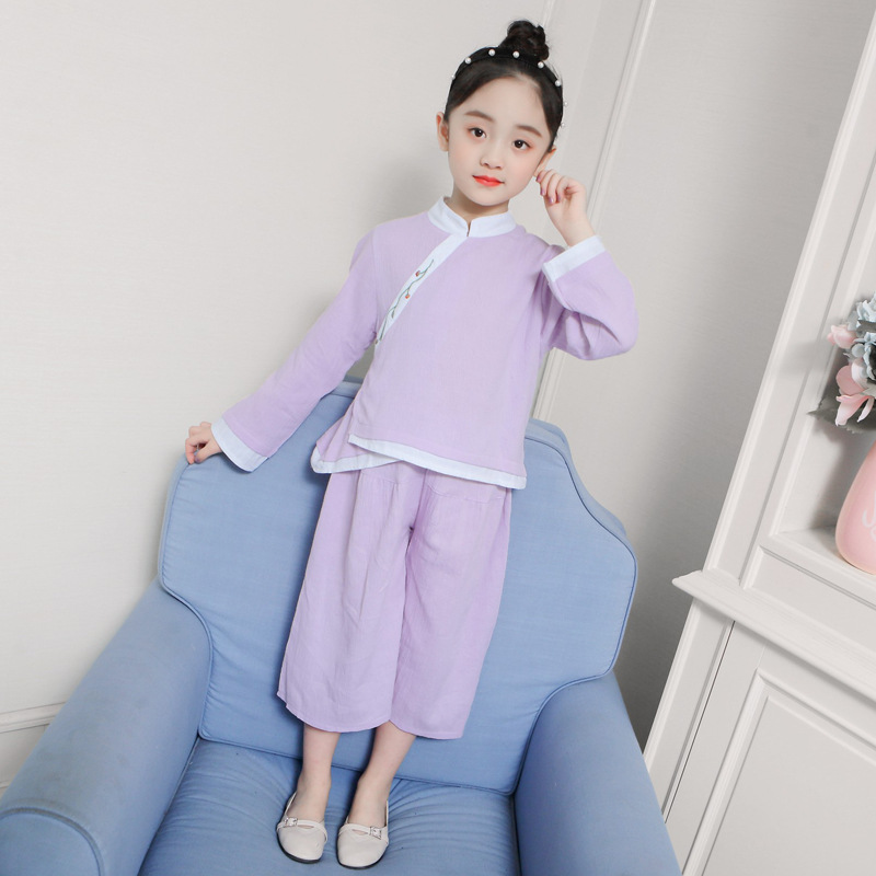 Childrenswear 2019 Spring And Summer New Style Chinese Style GIRL'S Suit China Ethnic-Style Solid Color Chinese Clothing Childre