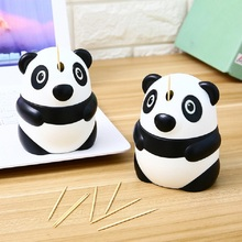 Creative Cartoon Panda Shaped Automatic Toothpicks Holder Container Wheat Straw Household Table Toothpick Storage Box Dispenser