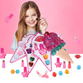 Jogo de maquiagem crianças fazer jogo de brinquedo princesa rosa maquiagem segurança não-tóxico para a menina vestir-se kit de cosméticos pré-escolar doux bebe