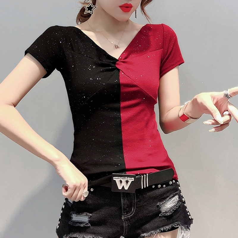 2020 Summer Shiny Clothes Patchwork V-Neck Drape T-shirt Women Cotton Short Sleeve Tops Ropa Mujer Bottoming Shirt Tees T02412