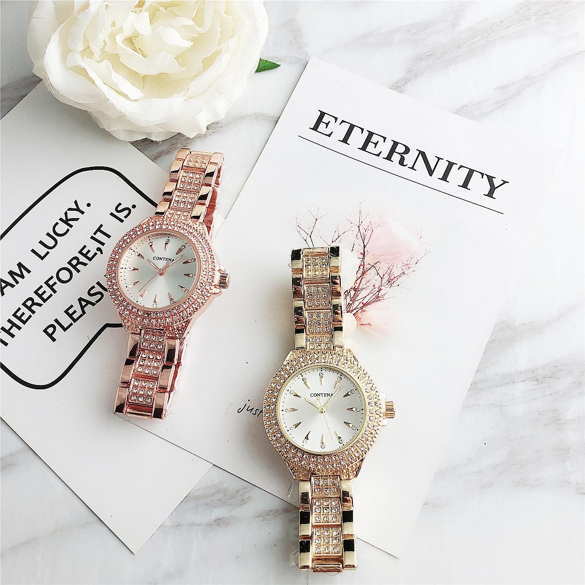 Contena, nuevos Relojes de cuarzo para Mujer, Relojes de cristal de lujo, reloj de pulsera para Mujer, diamantes de imitación para Mujer Nuevo Otoño Invierno Retro Punk mujeres Botas moda cuero genuino botines De Mujer Wram Botas Mujer