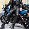 Men's autumn winter sheepskin leather leather pencil pants multi bag tactical pants Leather Motorcycle cut narrow pants pants 6