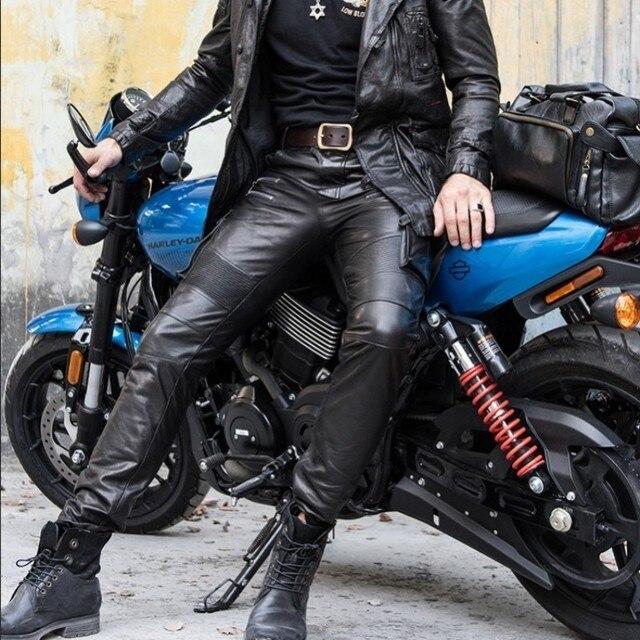 Men's autumn winter sheepskin leather leather pencil pants multi bag tactical pants Leather Motorcycle cut narrow pants pants 3
