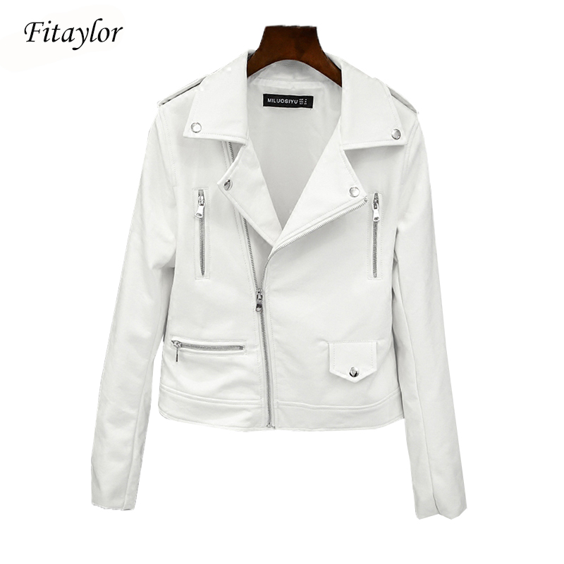 Fitaylor 2020 New Spring Autumn Women Biker Leather Jacket Soft PU Punk Outwear Casual Motor Faux Leather White Jacket