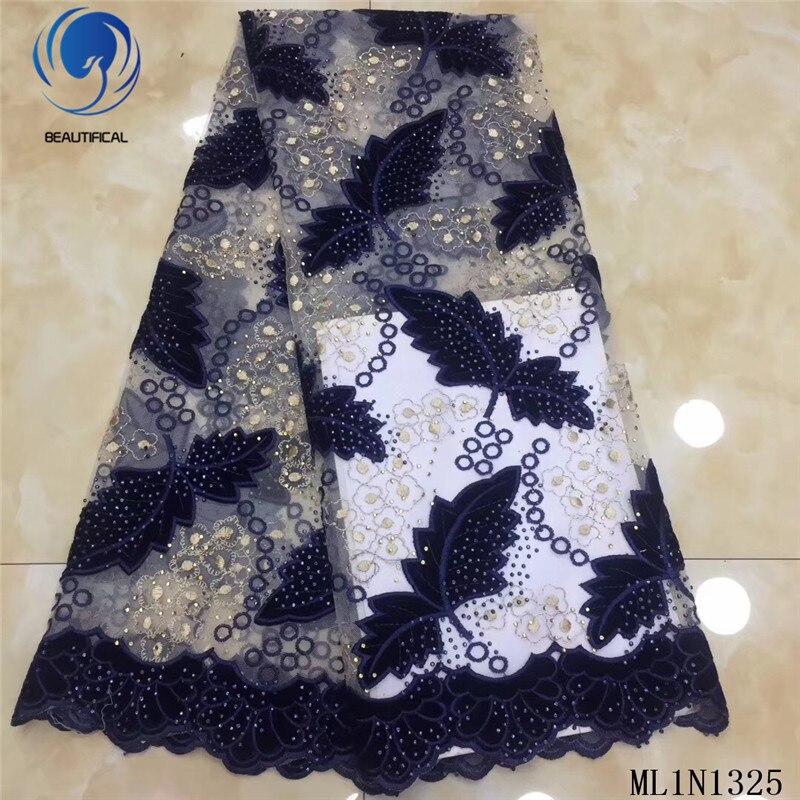 Beautifical afrikaanse kant stoffen 2019 Nieuwe gebladerte patroon Flanellen stoffen mix tule kant nigeriaanse stof met stenen ML1N1325 - 6