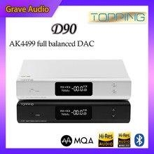 Cobertura d90 mqa/d90 ak4499 ak4118 dac equilibrado completo bluetooth 5.0 dsd512 hi-res decodificador de áudio