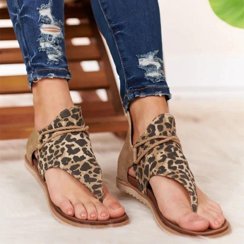 Women Flat Leopard Sandals Sexy Wild PU Leather Summer Bohemia Shoes Casual Open Toe Strap Gladiator Flip Flops Flats Female New