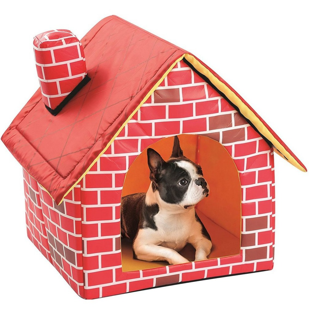 Portable Brick Pet House With Chimney Warm And Cozy Dog Cat Bed Detachable Washable Pet Tent Suitable For All Seasons Cushion 4