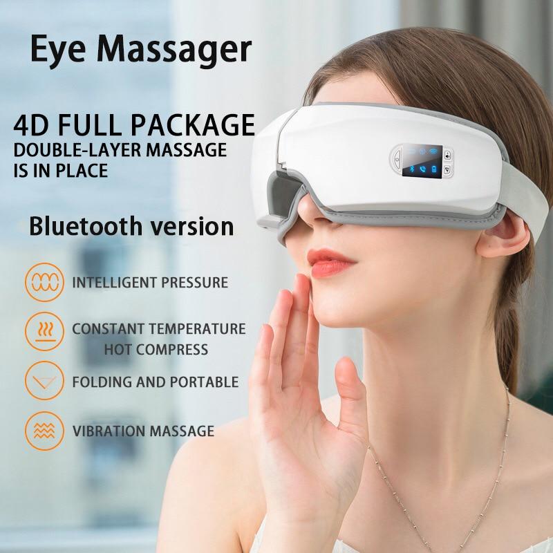 4D умная подушка безопасности Вибрационный массажер для глаз инструмент для ухода за глазами горячий компресс Bluetooth массажные очки для усталости глаз