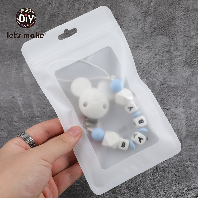 Let's Make White 50pcs (19.5x11.5cm) Display Bags BPA Free Baby Plastic Bags Package Jewelry Gift Pendant Accessories