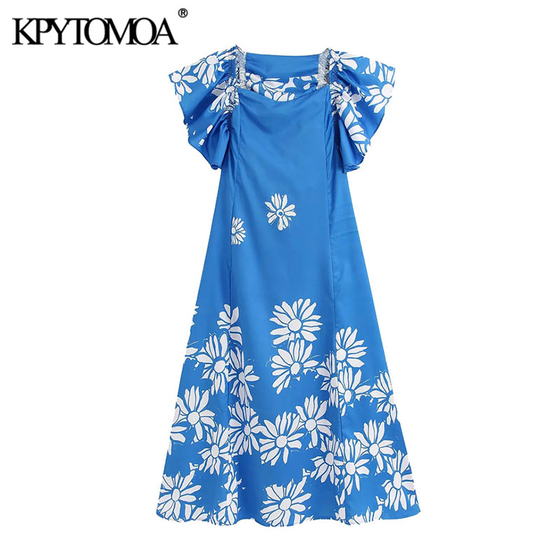 KPYTOMOA Women 2020 Elegant Fashion Floral Print Ruffled Midi Dress Vintage V Neck Short Sleeve Female Dresses Vestidos Mujer