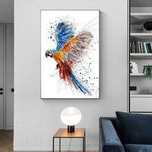 Reliabli animais quadros em tela coloridos papagaio quadros da arte parede voar pássaro posters para sala de estar decoração impressões sem moldura