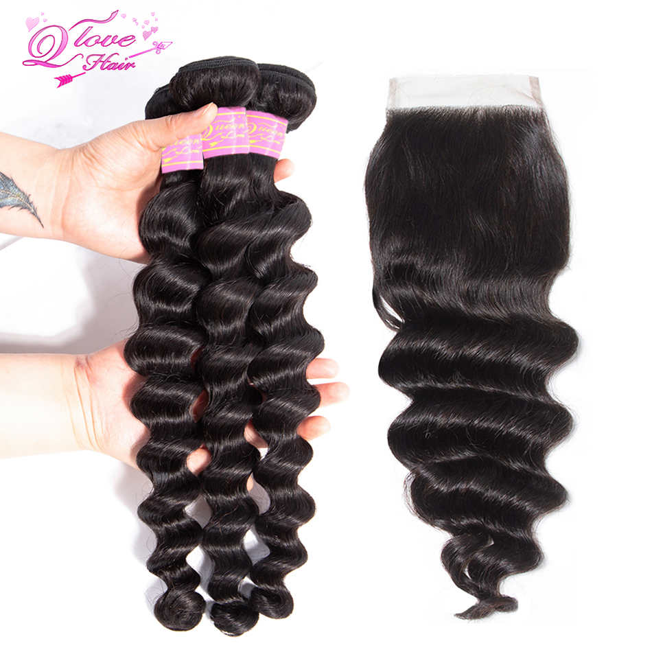 Queen Love Hair Loose Deep Wave Bundles With Closure Remy Hair Extension 4 Pcs/lot Indian Human Hair Wave 3 Bundles With Closure